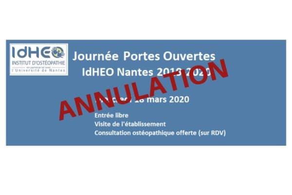Mercredi 18 mars 2020 : Annulation JPO