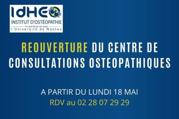 Lundi 18 mai : Réouverture du Centre de Consultations Ostéopathiques