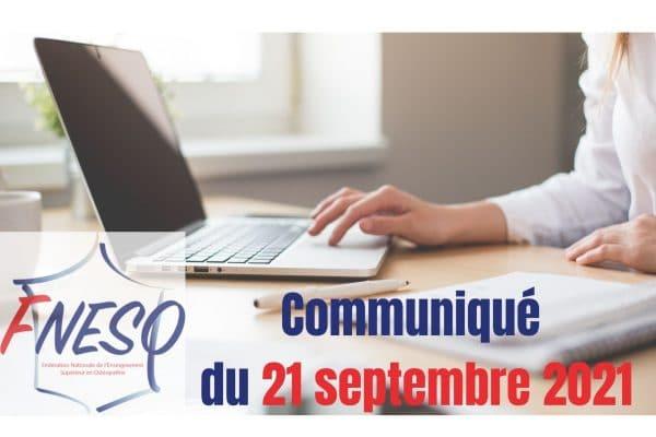 Communiqué du 21 septembre 2021 – La Fédération Nationale de l'Enseignement Supérieur en Ostéopathie réaffirme son soutien à l'avis de la CCNA